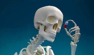 Скелет рассматривает капсулу
